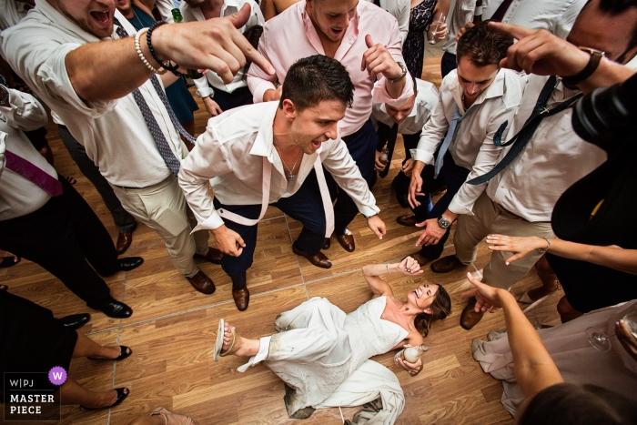 Crossed Keys Estate, New Jersey   bride dancing on her back