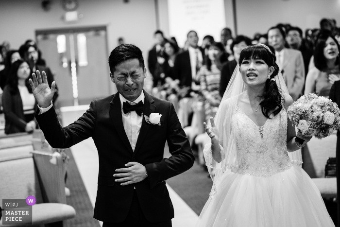 A New York City church ceremony turns tearful and emotional for this groom
