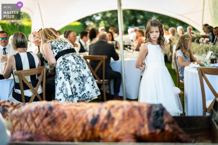 Lincolnshire outdoor wedding reception experience with the young girl looking at a roasted pig on a spit