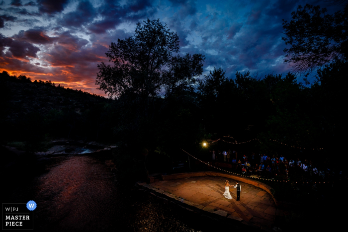 First Dance photo at sunset by the river. | Lyons, CO