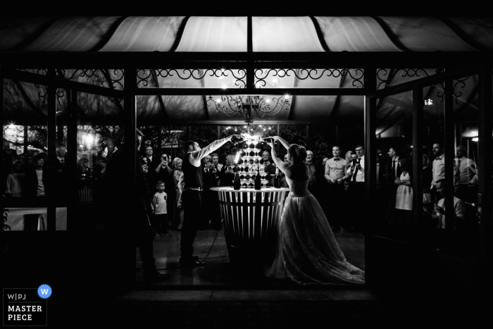 Champagne shower wedding photograph from Lyon, France