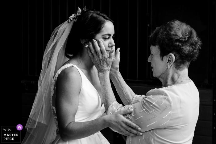Hamilton, Montana Wedding photojournalism of bride and mom before ceremony