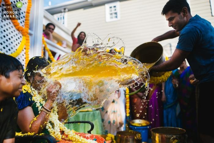 Telangana dokumentarisches Hochzeitsfoto zu Hause vor der Zeremonie