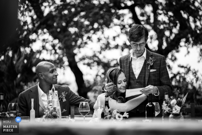 Italy Wedding Photojournalist | Certaldo alta, Tuscany wedding reception speeches