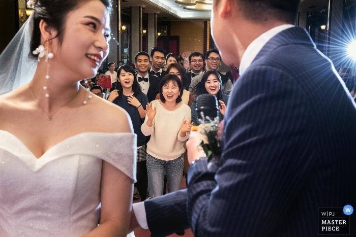 Guangzhou China wedding reception - Scrambie for bouquet