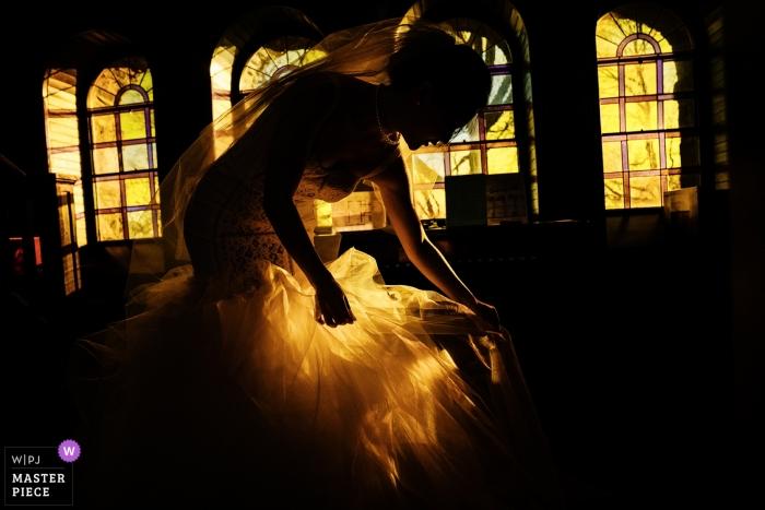 Fairmont Copley Plaza, Boston reception - the bride is preparing for ceremony entrance at Goddard Chapel, Medford