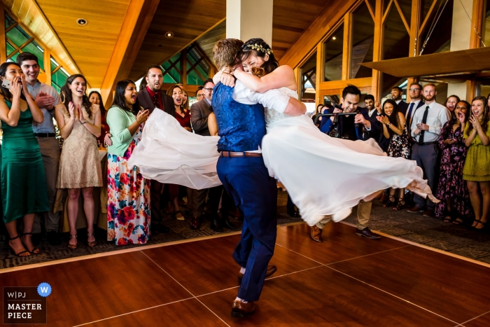 Wedding photography at Edgewood Tahoe | Bride and Groom celebrate with their first dance at the reception