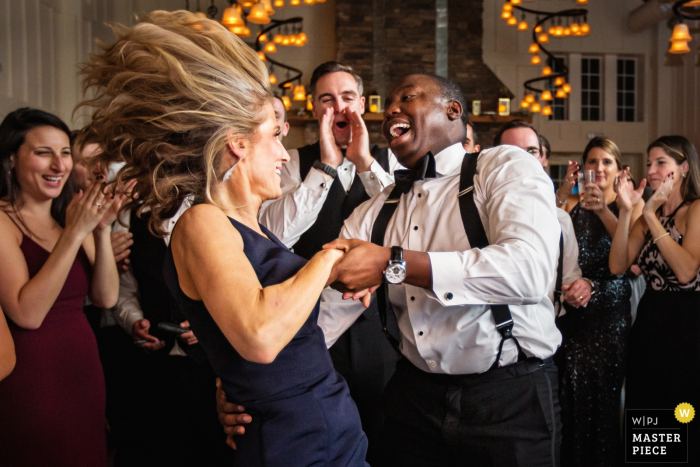 Ryland Inn Coach House New Jersey Wedding - action photo from the reception dance floor