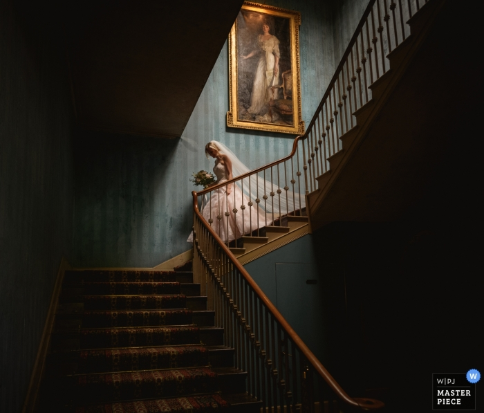 St Giles House, Dorset Photography of the Grand Bridal entrance down the stairs.