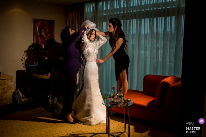 Grand Hotel Ankara wedding day photography   The Bride getting ready with her bridesmaids