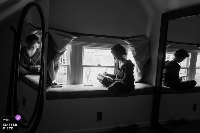 San Diego, Marston House wedding photography - The bride writes her vows in the attic of a historic victorian mansion