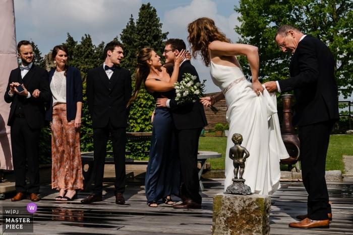 De Beekhoeve, Landen wedding photograph following the outdoor ceremony.