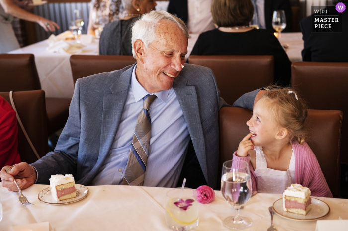 Benedetto - Cambridge, Massachusetts Wedding Photographer - Flower girl and grandfather sharing a moment at the reception