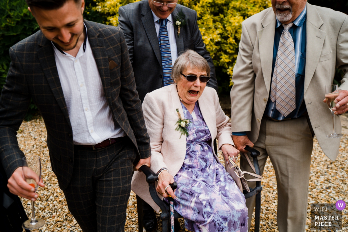 Farnham Castle, Farnham, Surrey, England Wedding Photo showing one way to move Granny!