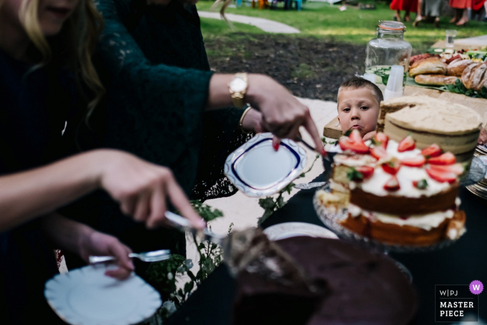 Wedding Photo from Longton Wood - The Bride's nephew watches on as guests tuck into the cake