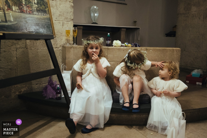 Clement St Danes Church, London Wedding Photography   The flowergirls after the ceremony