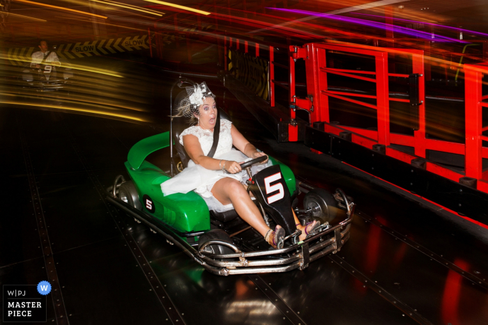 The Grand Pier Go-Kart Photography - The wedding reception was at theme park, so the couple had some fun before the evening due