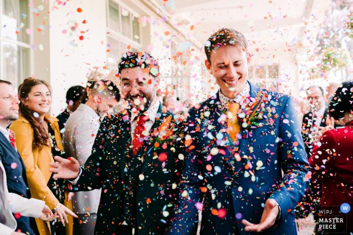 Bristol ZOO, Bristol, UK post ceremony photo of the confetti run