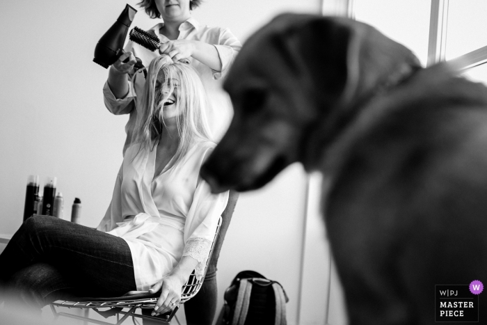 Hotel Jerome wedding image of bride getting ready with her dog in the foreground.