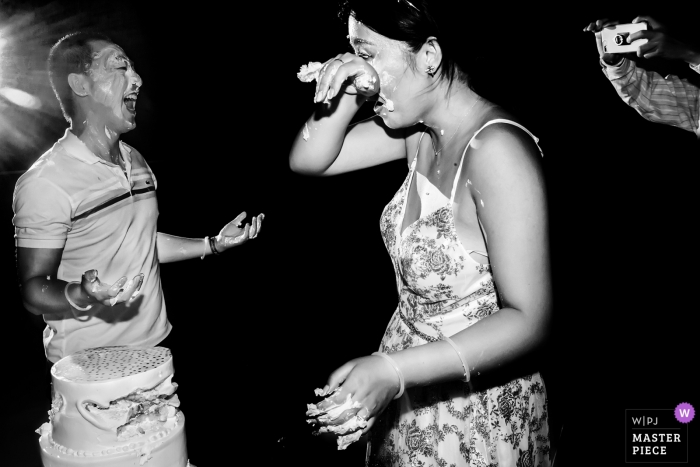 Cancun, Mexico - Photo of cake smash - After party wedding fun