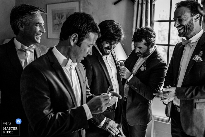 Domaine de Petiosse, Landes, France Wedding Photography of Groom and groomsmen