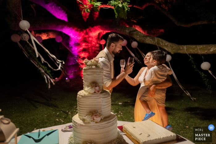 Villa Soleil Colleretto Giacosa TO cake cutting wedding reception photos