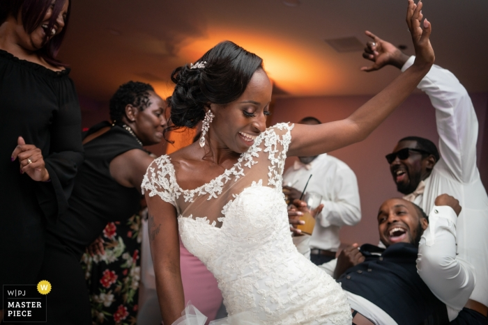 Maryland wedding reception photography at hotel with crazy dance scene