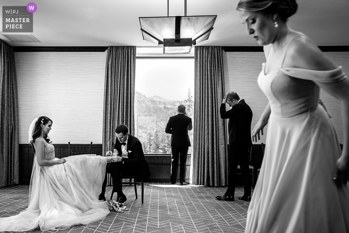Resort at Squaw Creek, CA - Photo of the bride, groom and bridal party wait for the ceremony to start