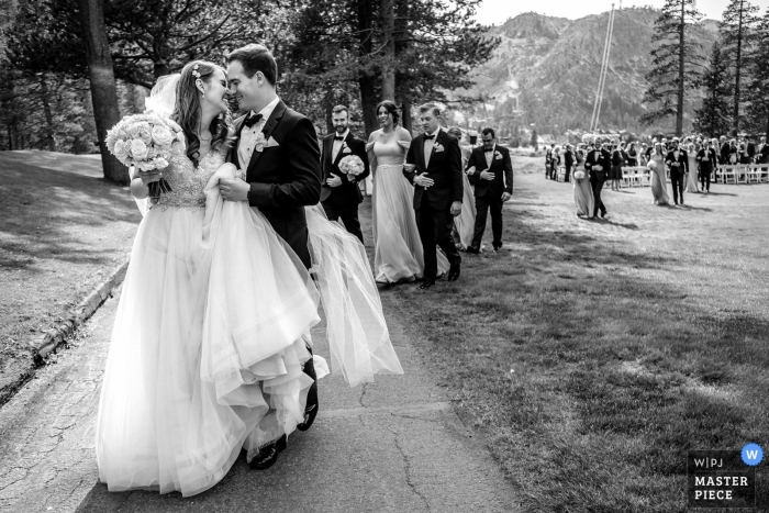 Resort at Squaw Creek wedding photography | CA couple moments after being married outside