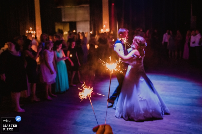 Wedding Photography at Casino Zeche Zollverein | Image of bride and groom during first dance with sparklers