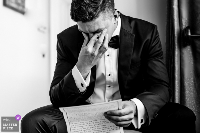 Wilton Castle, Ireland Documentary Wedding Photographer - Emotional groom reading letter from his bride on the morning of their wedding