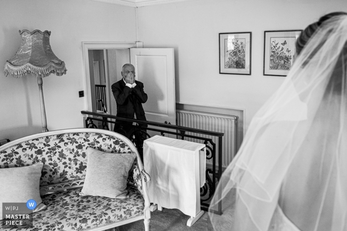 Birtsmorton Court, Malvern, UK Wedding Reportage Photographer   Dad see the Bride for the first time.