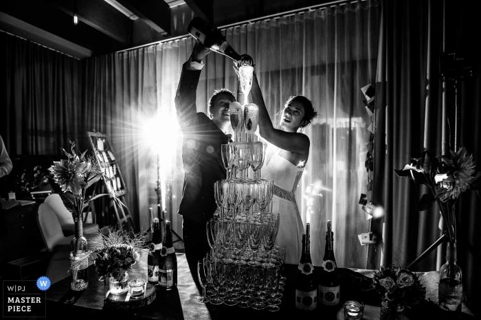 Hotel de la mer, Brignogan Plage, France wedding reception venue photography in black and white.