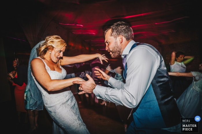 Hales Hall Barn, Suffolk Wedding Venue Photographer: A snippet of these two dance fiends in action - they were unstoppable!