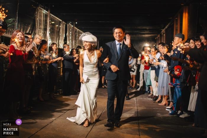 Pizza 4P's Hai Ba Trung, Saigon Wedding Photography - Image of Bride and her dad