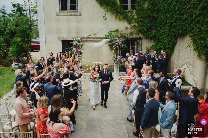 Wedding Day Photography in Sintra, Portugal | Bride and Groom leaving the ceremony