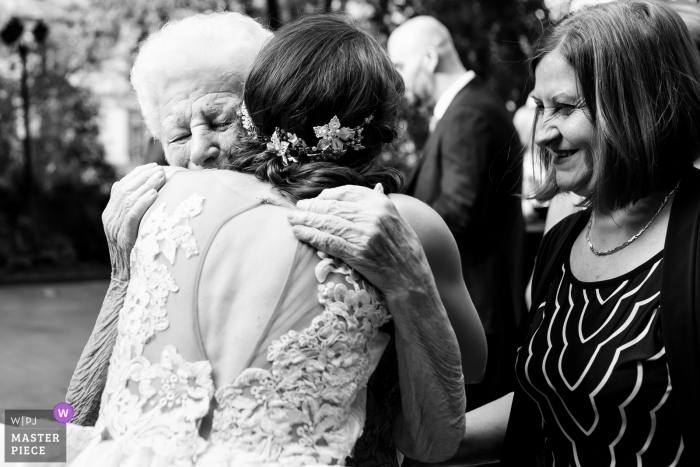 Bragadiru Palace Wedding Venue Photography - Grandmother of the bride gets emotional at the end of the ceremony