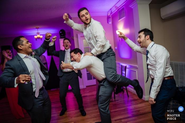 Warwick Country Club- Warwick RI Wedding Reception Photo - Get on it, groomsmen, dancing, purple, floor