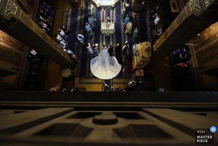 Romania Ceremony Wedding Photo inside Church Shooting Down on the Bride