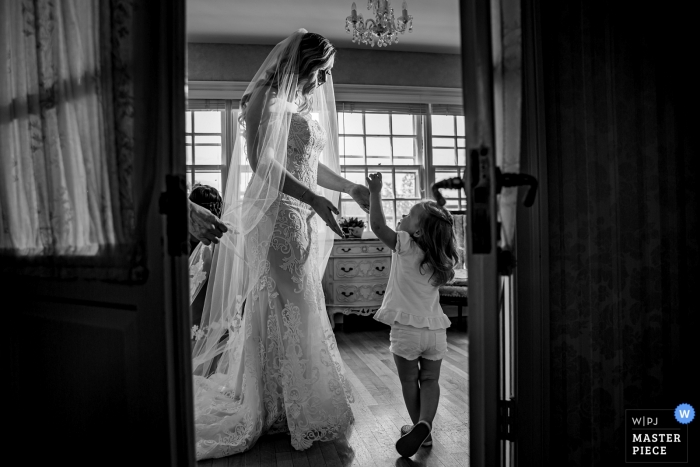 Wedding Venue Photography at Danada House, Wheaton, IL - flower girl and bride getting ready