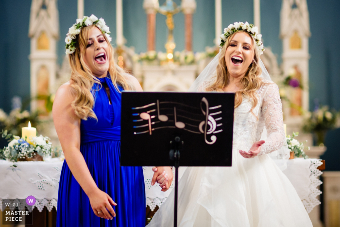 Wedding Photography at the Powerscourt House, Wicklow, Ireland | Image of Opera singer bride and bridesmaid