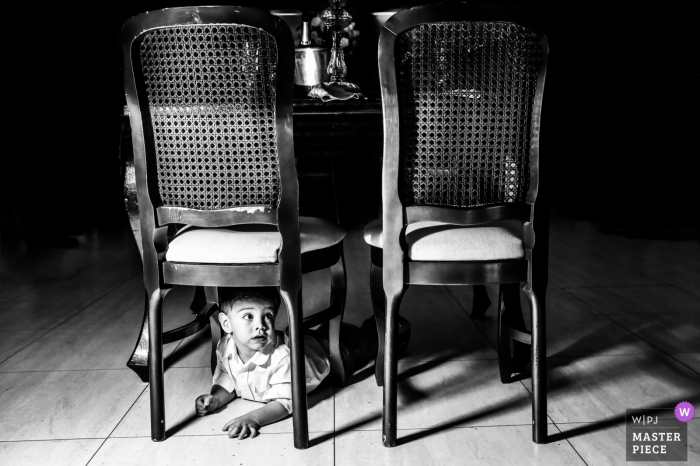 Paulinia Wedding Photography - Image contains: black and white, chairs, boy, tile floor, table