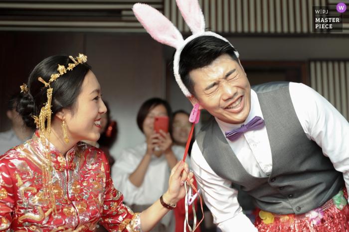Beijing China bride and groom with bunny ears - Humor, funny, wedding, photography