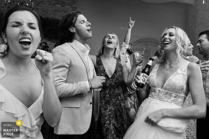Wrightsville Manor, Wrightville, SC Wedding Photographer - Singing while dancing at the reception party