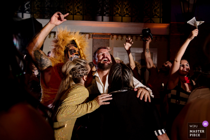 Costume reception...The Lightner, St Augustine | Florida Wedding Photography | Fun on the dance floor with costume reception...