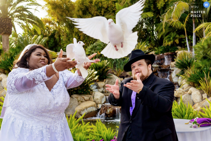 Grand Tradition Estate and Gardens, Fallbrook, CA | Wedding Photographer | The bride and groom release doves during their wedding ceremony.