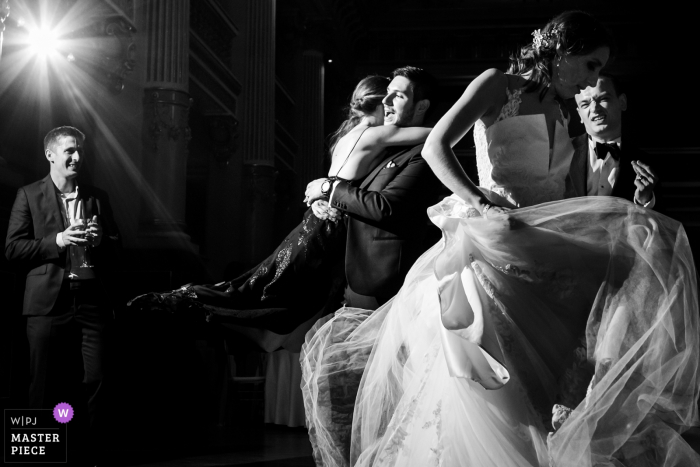 Bragadiru Palace Wedding Reportage Photos in Black and White - Bride and groom dance along with godfather and godmother