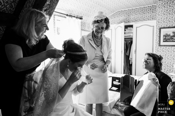 France Wedding Reportage Photographer - Getting Ready - Cry Laughing Bride