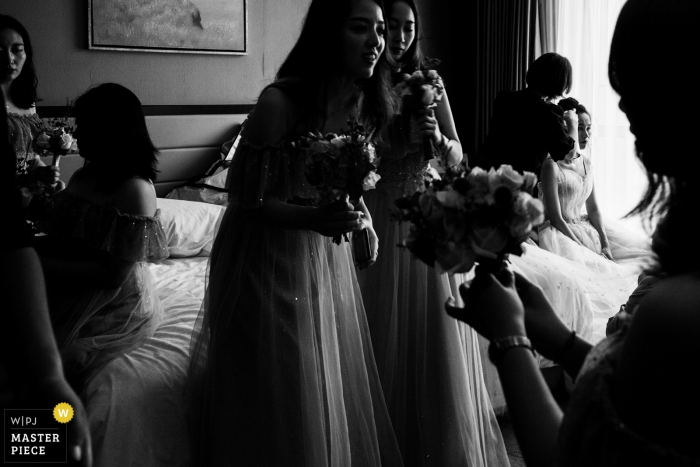 China Hotel Getting ready - Black and White photography from wedding day