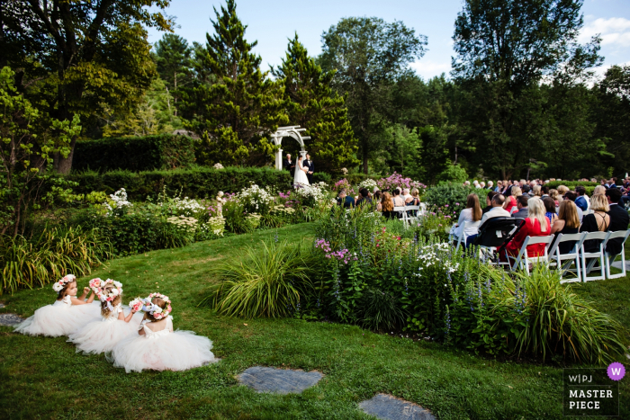 Hamilton House - South Berwick, Maine Wedding Ceremony Photography - Flower girls watch the ceremony from their preferred seats.